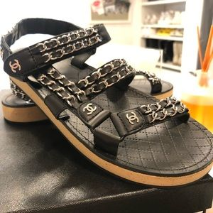 Chanel Black Chain Dad Sandals